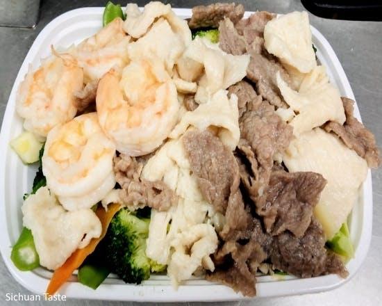 Steamed Triple Delight from Sichuan Taste in Cockeysville, MD
