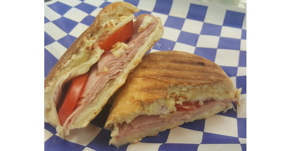 Hot Ham 'n Swiss Panini from Basics Co-op Cafe in Janesville, WI