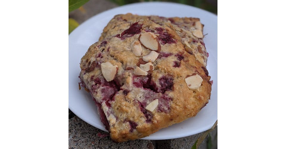 Raspberry Almond Scone from Patina Coffeehouse in Wausau, WI
