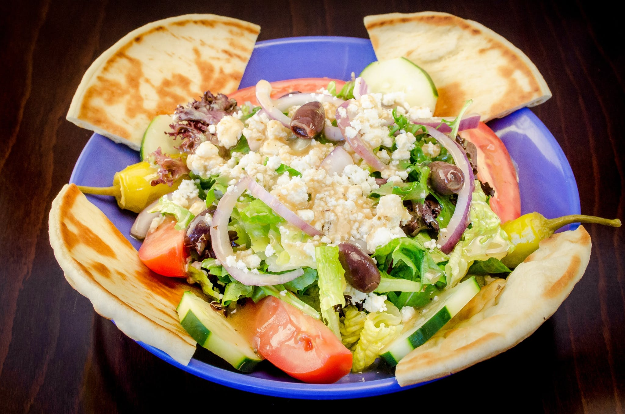 Classic Greek Salad from Freska Mediterranean Grill in Middleton, WI