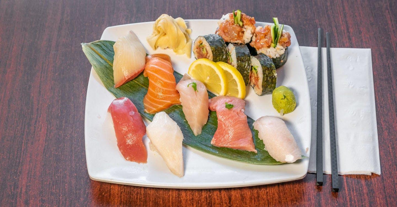 Nigiri (7 Pieces) & Spicy Tuna Roll from Sakura Sushi in San Rafael, CA