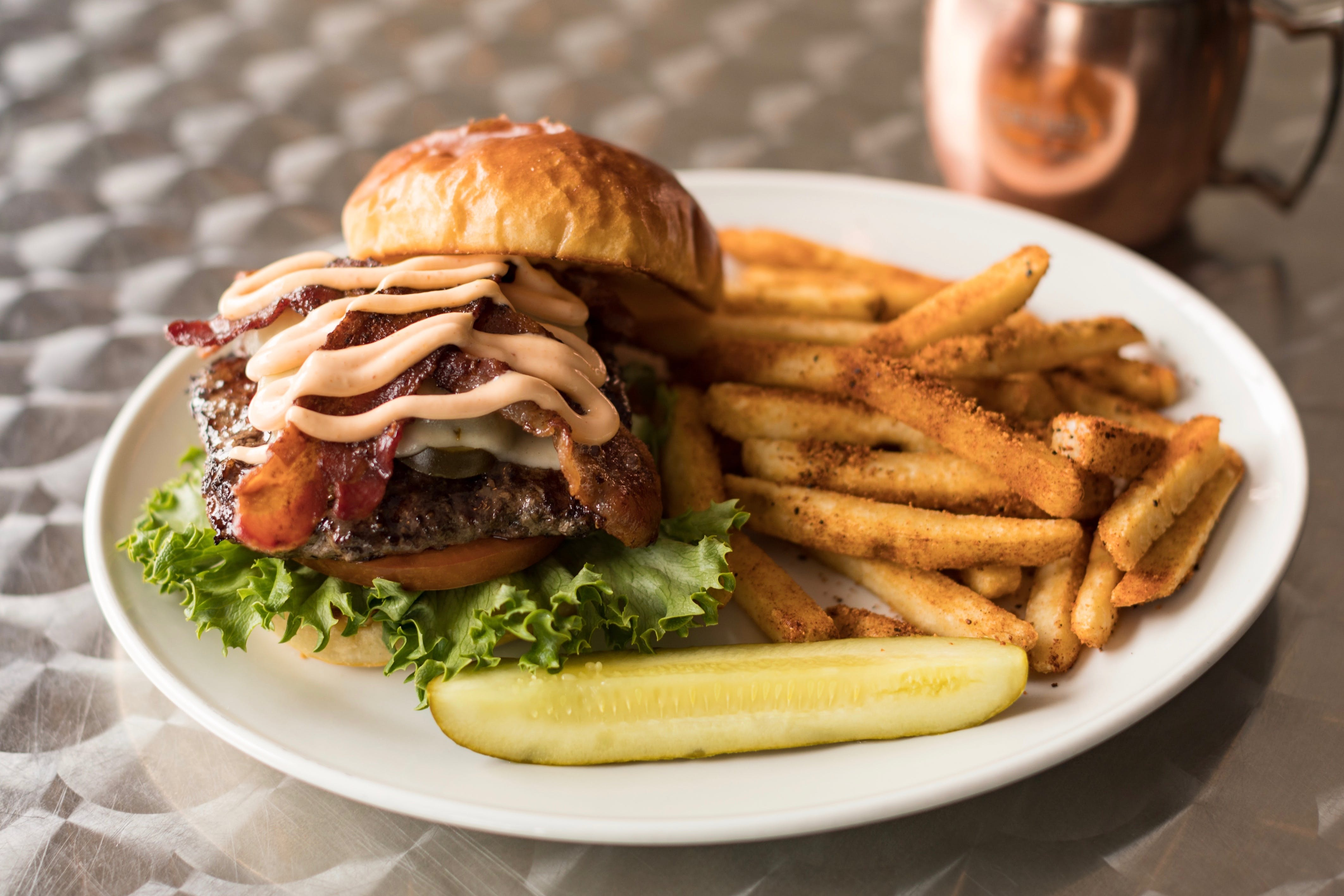 District Showdown Burger from The District Pub and Grill in Eau Claire, WI