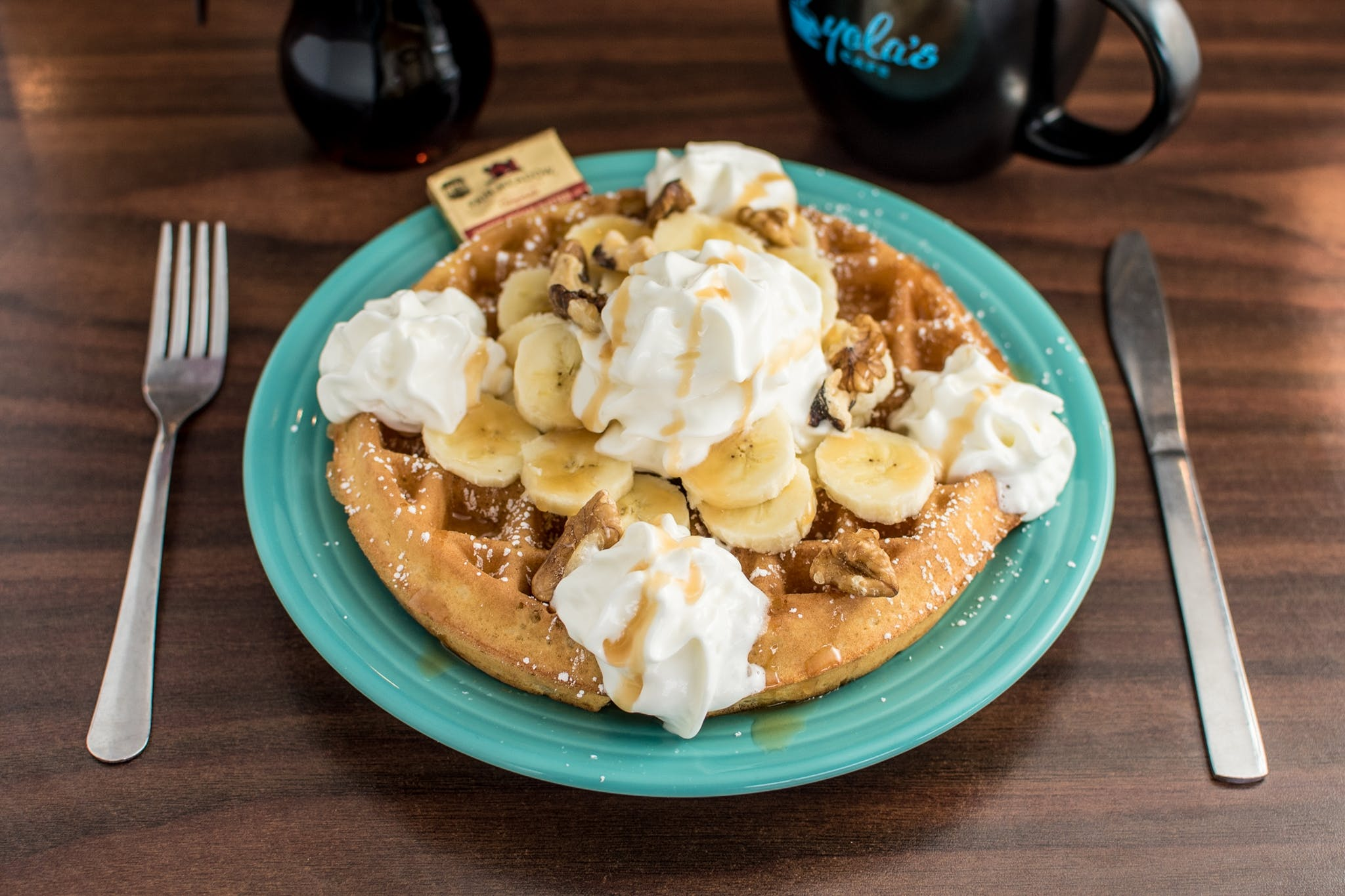 Nutty Banana Waffle (N) from Yola's Cafe in Madison, WI