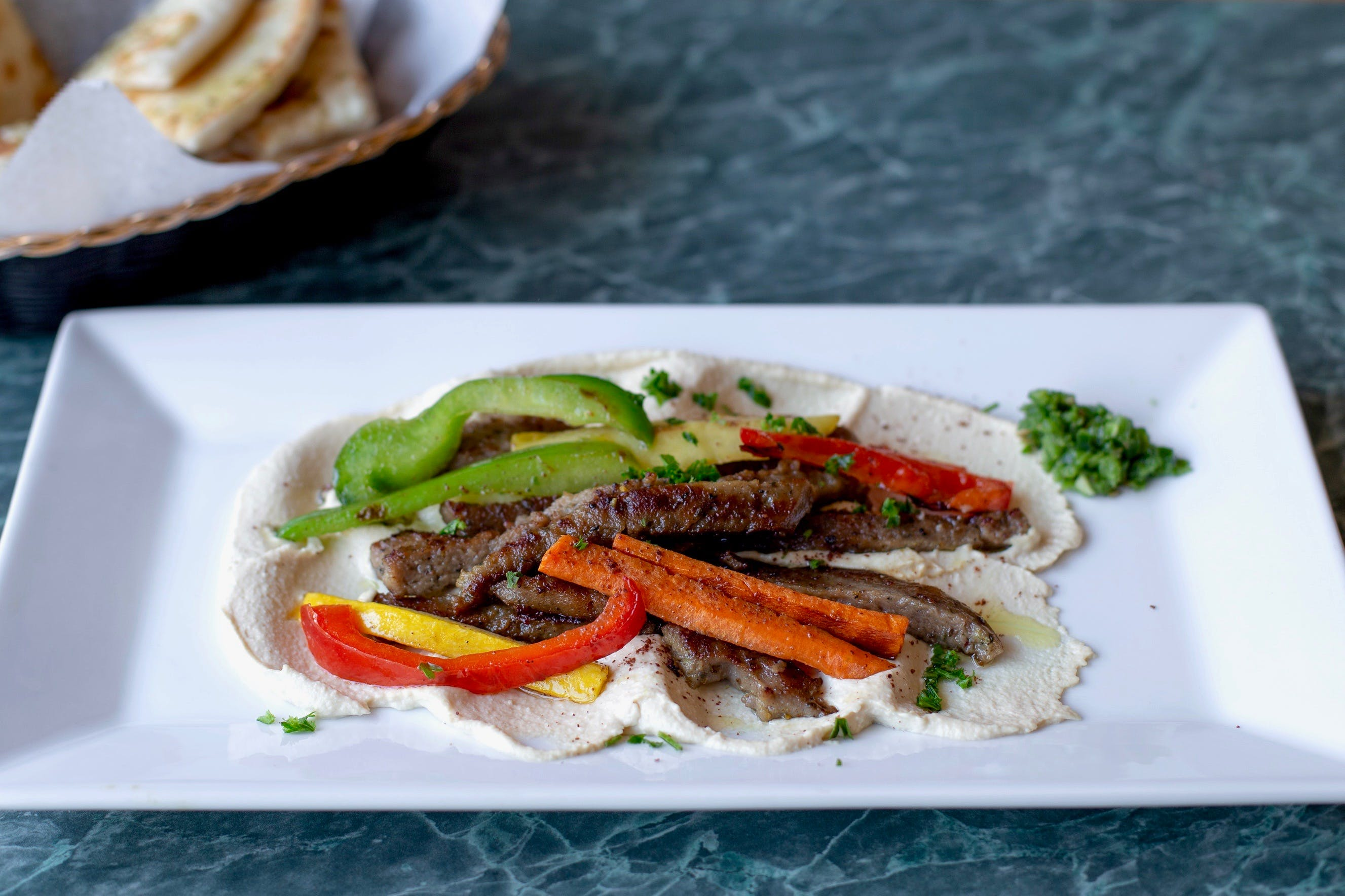Gyro Hummus - Appetizer from Aladdin Cafe in Lawrence, KS