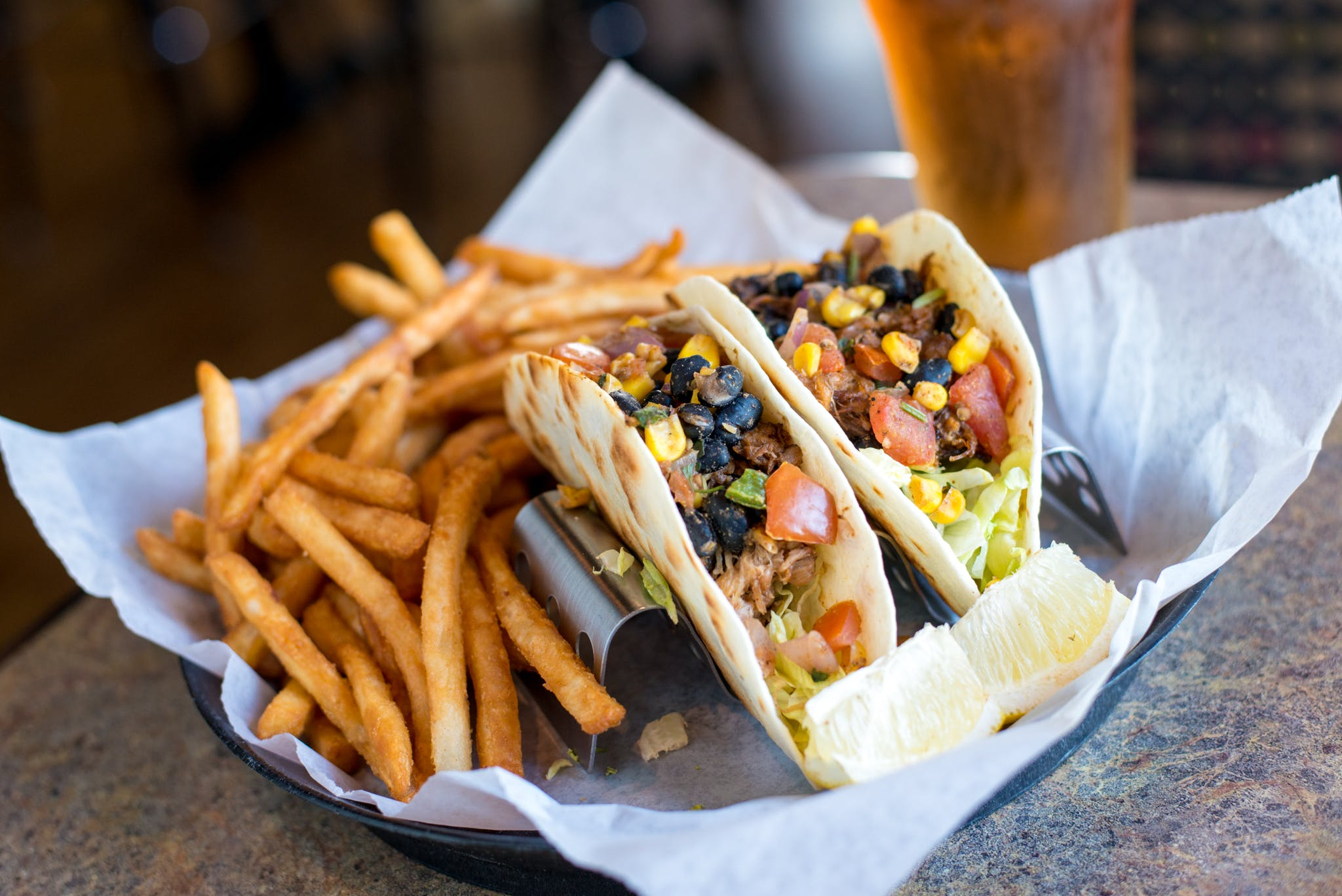 Chipotle Fish or Pulled Pork Tacos from Brickhouse Craft Burgers & Brews in De Pere, WI