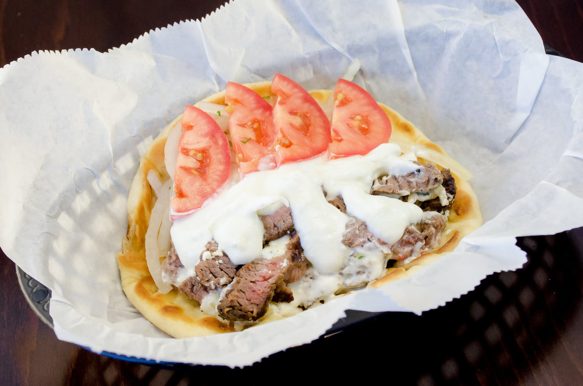 Grilled Steak Gyros Sandwich from Freska Mediterranean Grill in Middleton, WI