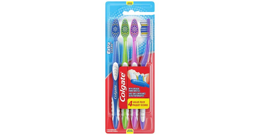 Colgate Extra Clean Full Head Toothbrush, Medium (4 ct) from EatStreet Convenience - SW Topeka Blvd in Topeka, KS