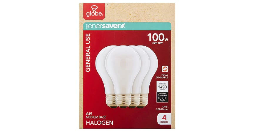 GLOBE Halogen Soft White Bulbs 100W (4 ct) from EatStreet Convenience - SW Wanamaker Rd in Topeka, KS