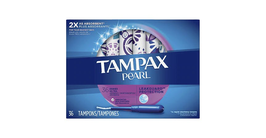 Tampax Pearl Plastic Tampons Unscented (36 ct) from EatStreet Convenience - SW Wanamaker Rd in Topeka, KS