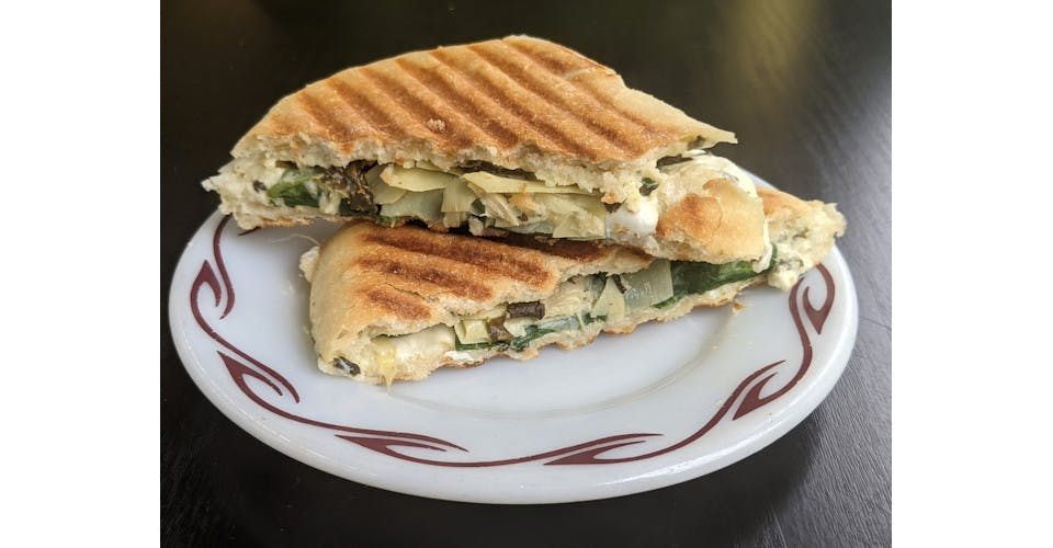 Spinach & Artichoke Panini from Basics Co-op Cafe in Janesville, WI
