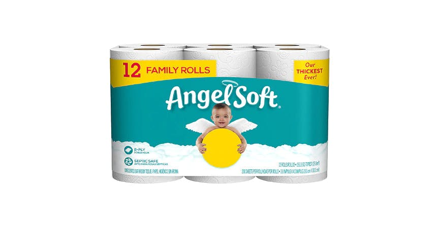 Angel Soft Bath Tissue 12 Family Rolls (12 ct) from EatStreet Convenience - SW Wanamaker Rd in Topeka, KS