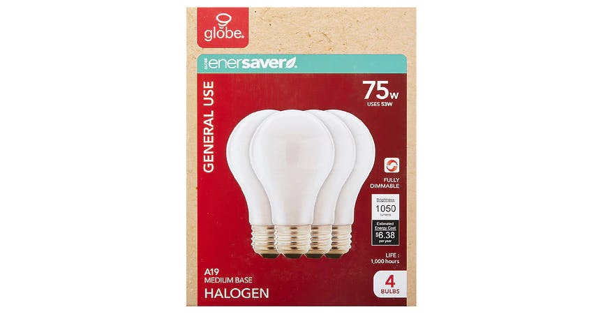 GLOBE Halogen Soft White Bulb 75W (4 ct) from EatStreet Convenience - SW Wanamaker Rd in Topeka, KS