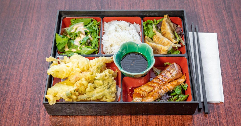 Lunch Bento Box with 3 Items from Sakura Sushi in San Rafael, CA