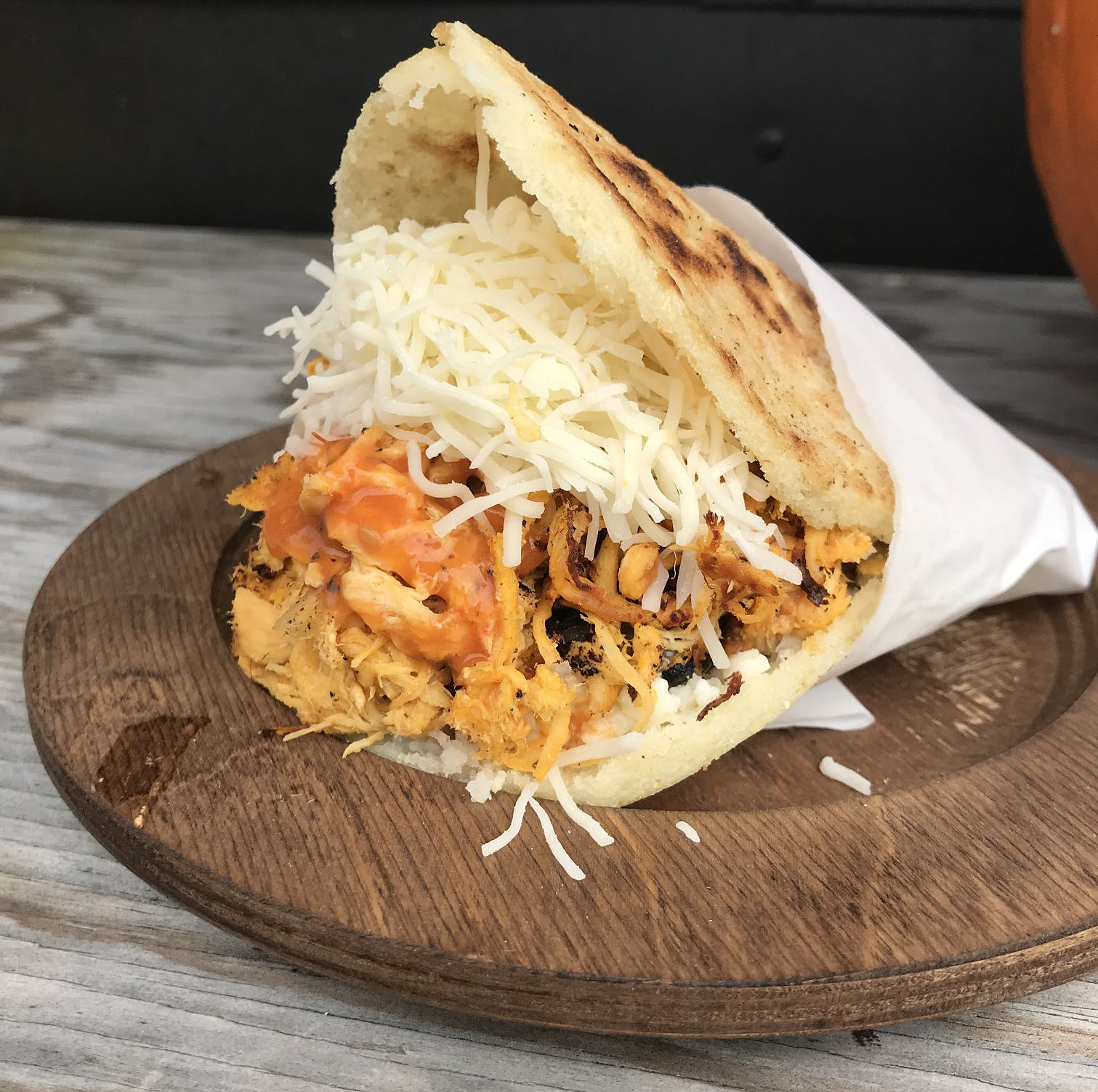 Chicken Arepa from Anytime Arepa in Milwaukee, WI