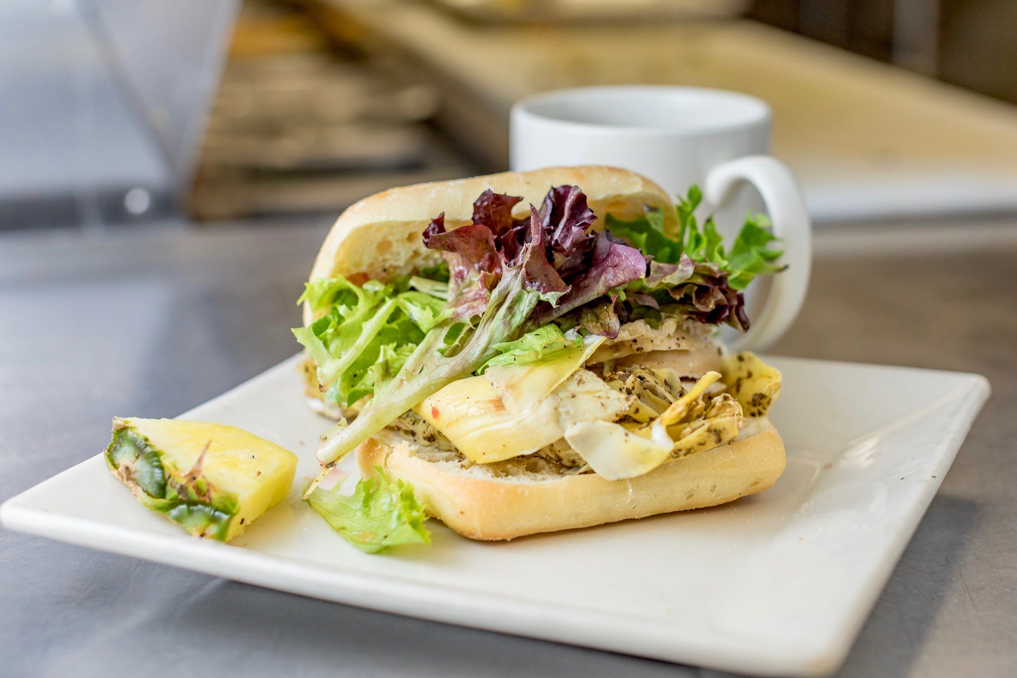 Roasted Artichoke Chicken Sandwich from The French Press in Eau Claire, WI