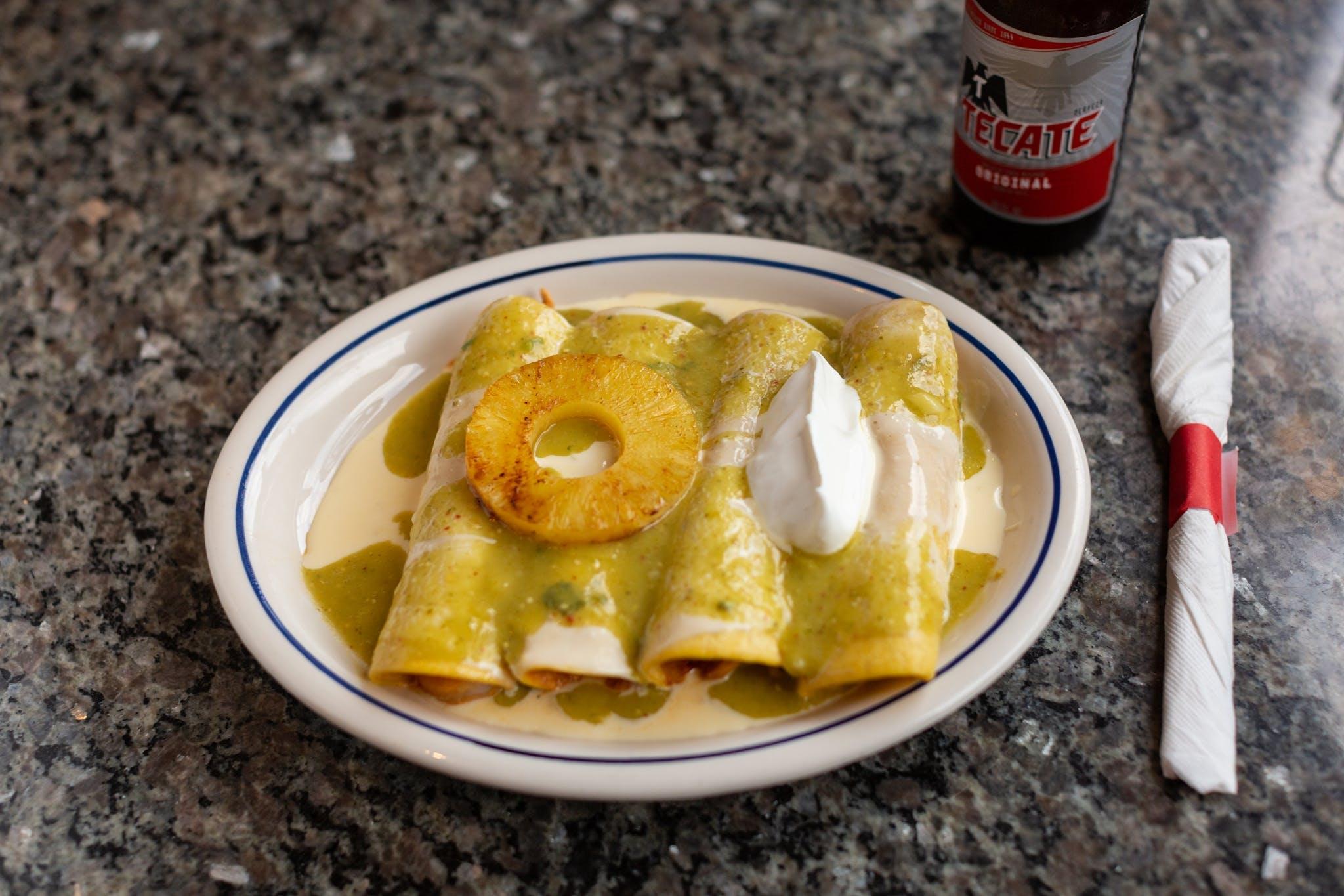 Enchiladas Suizas from El Mezcal in Lawrence, KS