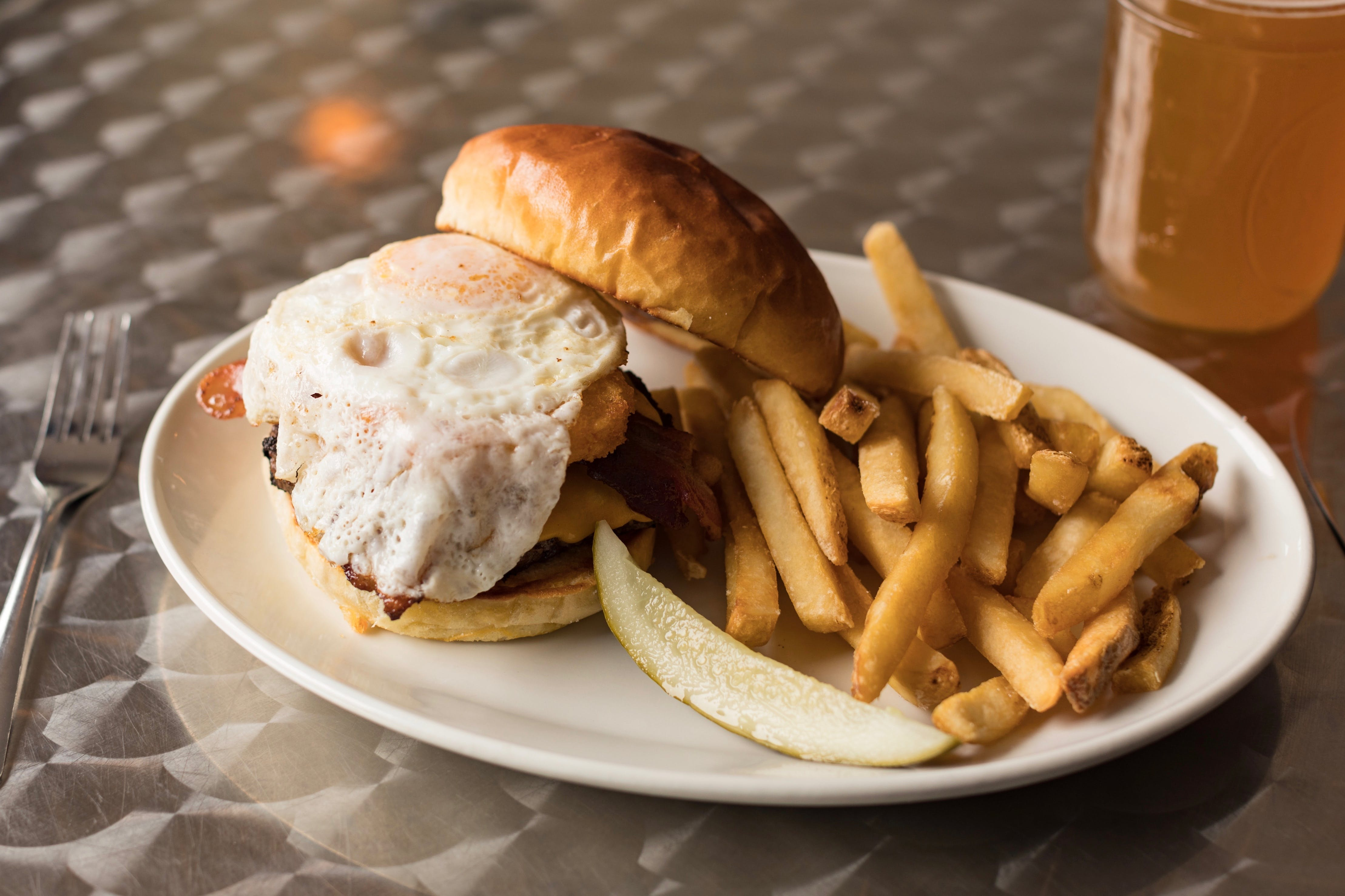 Warm Up Burger from The District Pub and Grill in Eau Claire, WI