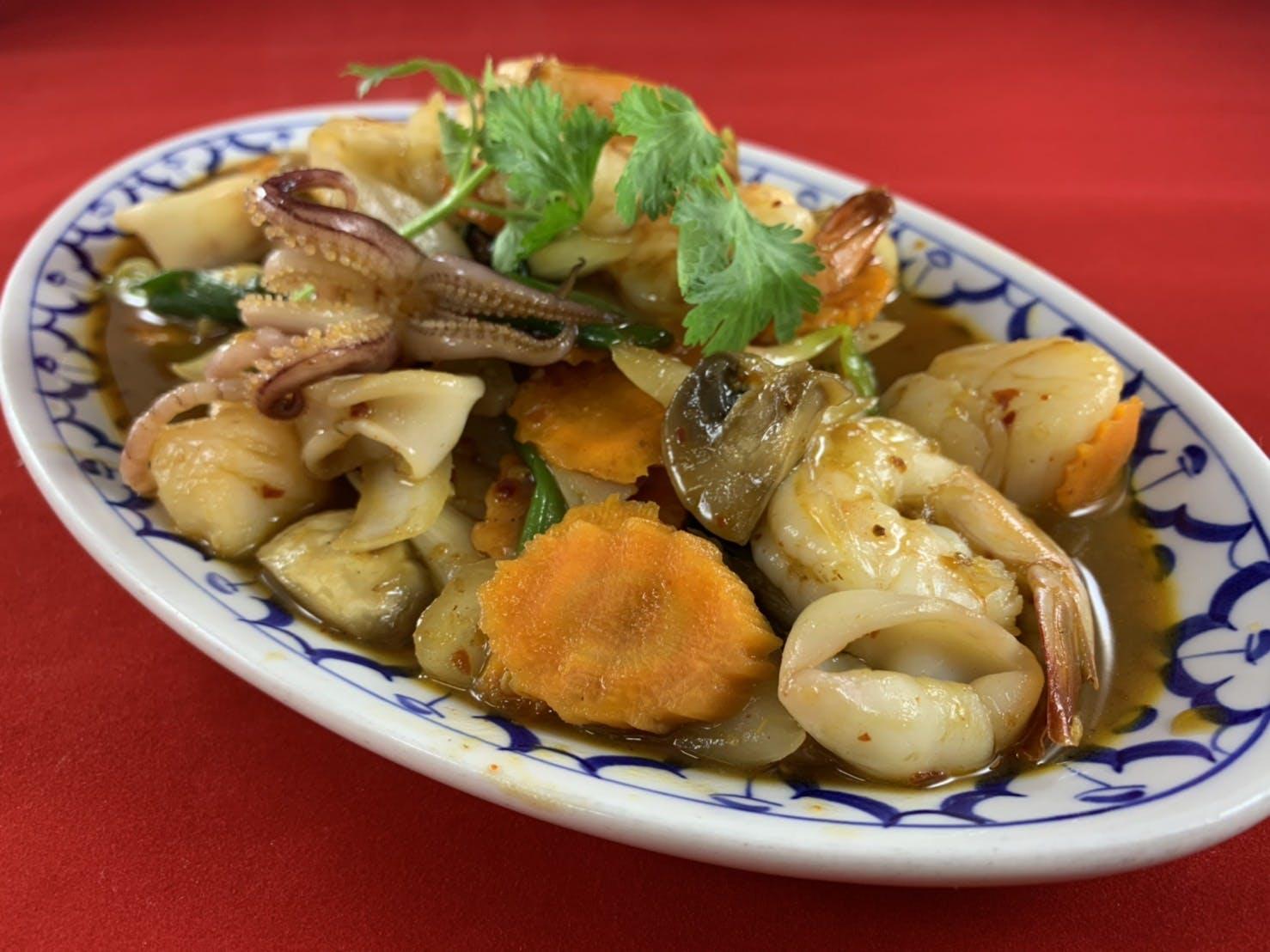 62. Tom Yum Talay Hang (Dinner) from Sa-Bai Thong - University Ave in Madison, WI